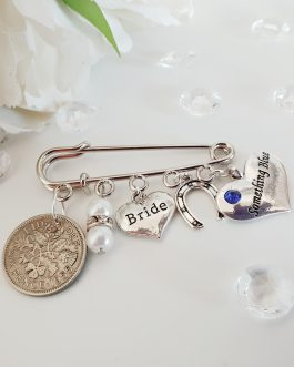 Bridal pin charm memory something old something blue good luck charm