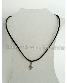 Corded necklace with music charm