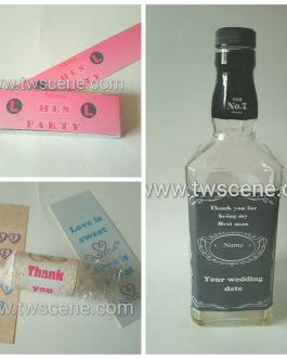 Personalised labels for chocolate, sweets and bottles
