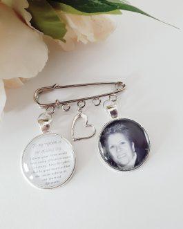 Groom/ bride jacket multicharm pin with poem