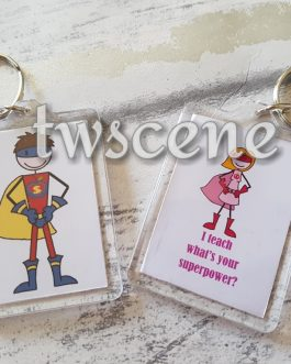 Cartoon super teacher keyring