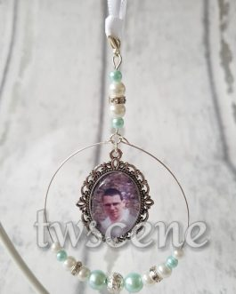 Christmas tree memory bauble beaded photo decoration