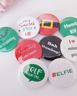 Set of 9 cartoon sayings Christmas badges gifts table decoration crackers