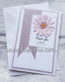 Handmade a6 card thank you for being my flower girl bridesmaid birthday