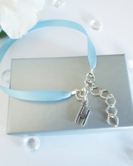 Something Blue Initial ribbon Anklet Brides Gift Wedding