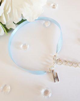 Something Blue Initial ribbon Anklet Brides Gift Wedding