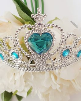 Plastic tiara with blue gems