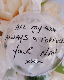 Christmas Clear bauble with loved ones handwriting message filled with feathers