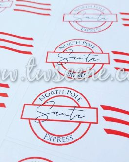 Personalised santa mail stickers 12 per sheet present christmas gift