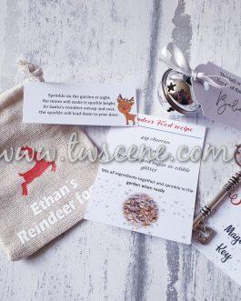 Christmas eve santa key bell reindeer food bag personalised in box