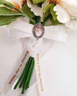 Bouquet Ribbon Bow Memory Photo Charm personalised wedding bride