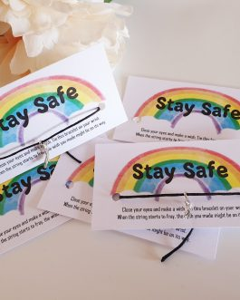 Stay safe rainbow storm card wish bracelet family nhs carer keyworker 10pcs