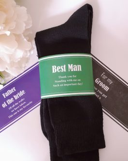 Father of the bride groom personalised sleeve and socks wedding gift present