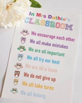 Teacher gift rules a4 poster gift