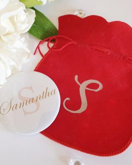 Initial Personalised Handheld Mirror And Bag birthday Christmas gift bridesmaid