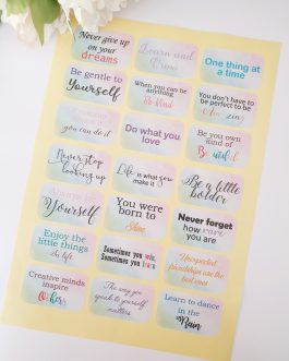 Inspirational encourage Affirmation Happy quote sticker rainbow Sheet 21 in a set