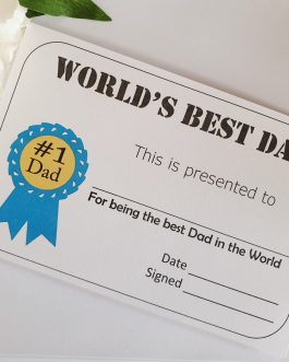 2 pack World's best Dad stepdad Certificate personalised optional