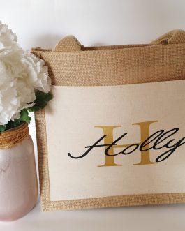 Cotton Pocket Jute Gift Bag wedding birthday Christmas personalised