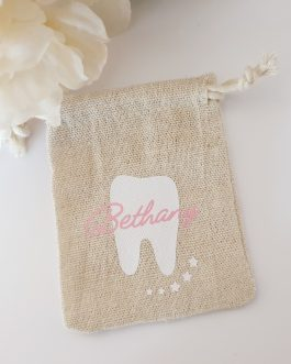 Tooth fairy bag personalised or generic novelty with name jute tie natural