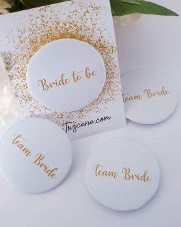 Team Bride set of 9 hen party badges design 2