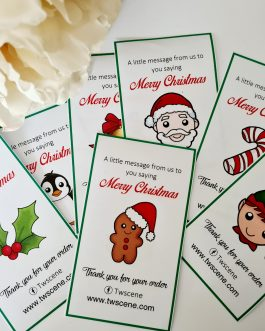 10 design Christmas business thank you slips 30pcs/100pcs