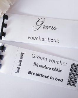 Groom partner love vouchers tokens card book