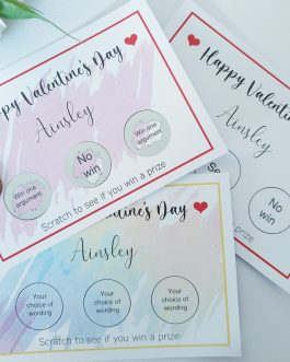 Single card valentines 3 scratch reveal with envelope gift personalised rude fun