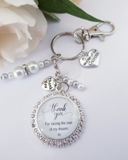 Mother of the groom sparkle keyring wedding gift charm thank you personalised
