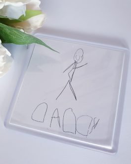 Father's day square photo drawing image acrylic coaster 90mm