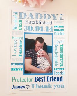 Personalised dad father word family a4 poster unframed fathers day present gift