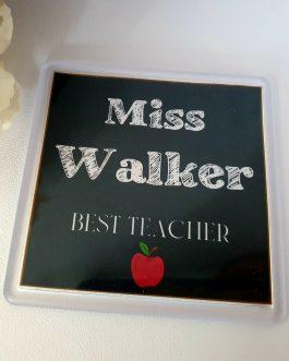Teacher square drawing image acrylic coaster 90mm