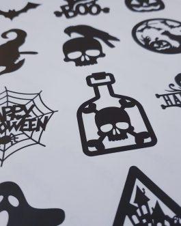 A4 halloween sticker sheet silhouette design