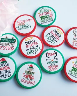 Christmas badges set of 10 or single designs
