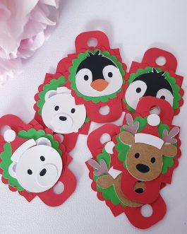 6pc 3d Christmas animal candy can straw pencil topper